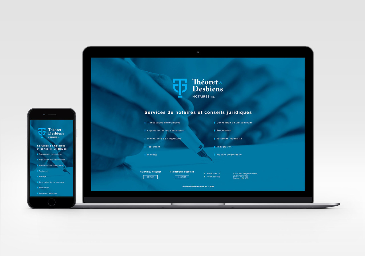 Gaspard Portfolio - Théoret & Desbiens Notaires Site web responsive