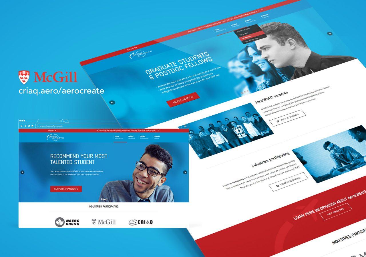 L'Agence Gaspard Portfolio Site web McGill AreoCREATE